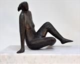 Sitting Lady by William Cramer, Sculpture, Bronze