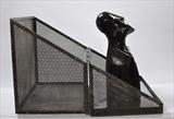 The Human Box by William Cramer, Sculpture, Resin figure in steel mesh box