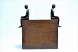 Together by William Cramer, Sculpture, 2 Iron figures sitting on steel box